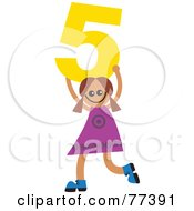 Royalty Free RF Clipart Illustration Of A Number Kid Girl Holding 5 by Prawny