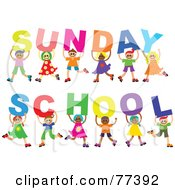 Royalty Free RF Clipart Illustration Of A Diverse Group Of Children Holding Letters Spelling Out Sunday School