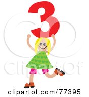 Royalty Free RF Clipart Illustration Of A Number Kid Girl Holding 3 by Prawny