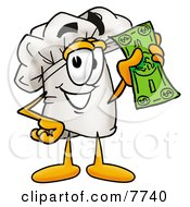 Clipart Picture Of A Chefs Hat Mascot Cartoon Character Holding A Dollar Bill