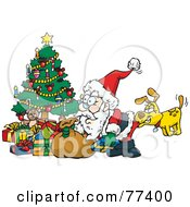 Royalty Free RF Clipart Illustration Of A Dog Biting Santas Butt As He Unloads Presents Under A Christmas Tree by Dennis Holmes Designs