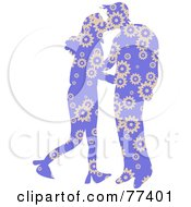 Royalty Free RF Clipart Illustration Of A Silhouetted Patterned Couple Kissing Purple FLoral by Prawny