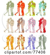 Royalty Free RF Clipart Illustration Of A Digital Collage Of Twelve Silhouetted Patterned Couples Kissing by Prawny