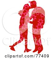 Royalty Free RF Clipart Illustration Of A Silhouetted Patterned Couple Kissing Stars by Prawny