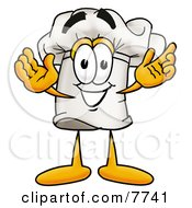 Clipart Picture Of A Chefs Hat Mascot Cartoon Character With Welcoming Open Arms