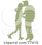 Royalty Free RF Clipart Illustration Of A Silhouetted Patterned Couple Kissing Stripes by Prawny