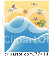 Royalty Free RF Clipart Illustration Of Blue Sea Water Washing Up By Seaweed And Shells On A Beach by Prawny