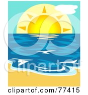 Royalty Free RF Clipart Illustration Of A Summer Sun Lowering Over The Blue Ocean With Sand In The Foreground by Prawny
