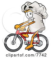 Chefs Hat Mascot Cartoon Character Riding A Bicycle