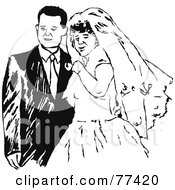Royalty Free RF Clipart Illustration Of A Black And White Bride And Groom Posing by Prawny