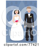Royalty Free RF Clipart Illustration Of A Young Bride And Groom Standing Over A Blue Background