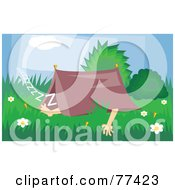 Royalty Free RF Clipart Illustration Of A Camper Snoozing In A Small Tent