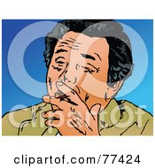 Royalty Free RF Clipart Illustration Of A Black Haired Man Smoking A Cigar by Prawny