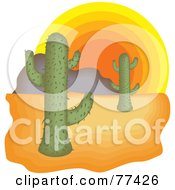 Royalty Free RF Clipart Illustration Of A Desert Landscape With A Sunset Sun Over Cactus Plants
