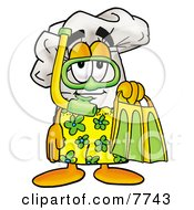 Clipart Picture Of A Chefs Hat Mascot Cartoon Character In Green And Yellow Snorkel Gear by Toons4Biz