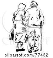 Royalty Free RF Clipart Illustration Of A Black And White Senior Couple Arm In Arm Walking Away