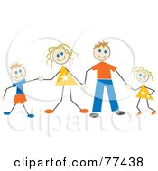Stick Family Of Four Holding Hands