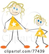 Royalty Free RF Clipart Illustration Of A Stick Mom And Daughter Holding Hands