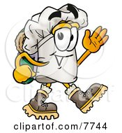 Clipart Picture Of A Chefs Hat Mascot Cartoon Character Hiking And Carrying A Backpack by Toons4Biz