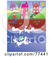 Royalty Free RF Clipart Illustration Of A Happy Man Sitting On A Sea Wall And Watching Fish At A Coastal Village by Prawny