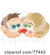 Royalty Free RF Clipart Illustration Of A Starry Eyed Man And Woman Smooching by Prawny