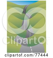 Royalty Free RF Clipart Illustration Of A Bumpy Roadway Leading Through Green Hills