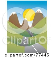 Royalty Free RF Clipart Illustration Of A Country Road Leading To The Sun Over Mountains by Prawny