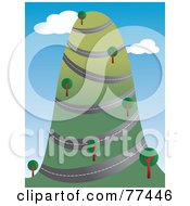 Royalty Free RF Clipart Illustration Of A Road Winding Around A Tall Hill With Trees