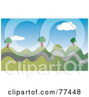 Royalty Free RF Clipart Illustration Of A Bumpy Roadway Over A Hilly Landscape With Trees by Prawny