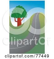 Royalty Free RF Clipart Illustration Of A Hilly Country Road Passing A Tree by Prawny