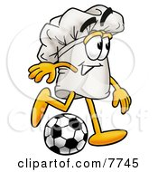 Clipart Picture Of A Chefs Hat Mascot Cartoon Character Kicking A Soccer Ball
