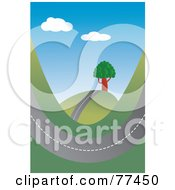 Royalty Free RF Clipart Illustration Of A Road Swooping Through Hills by Prawny