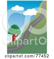 Royalty Free RF Clipart Illustration Of A Country Road Going Up A Hill Side by Prawny