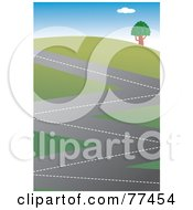 Royalty Free RF Clipart Illustration Of A Zig Zagging Road Winding Up A Hillside by Prawny