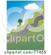 Royalty Free RF Clipart Illustration Of A Jagged Country Road Traveling Up A Hill by Prawny