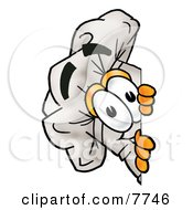 Clipart Picture Of A Chefs Hat Mascot Cartoon Character Peeking Around A Corner by Toons4Biz