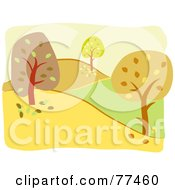 Royalty Free RF Clipart Illustration Of An Autumn Landscape Of Trees And Hills by Prawny