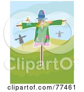 Friendly Brown Bird On A Scarecrow In A Hilly Landscape