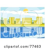 Royalty Free RF Clipart Illustration Of A Modern Waterfront Village Reflecting In Still Blue Water by Prawny