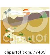Royalty Free RF Clipart Illustration Of A Red Sunset Sun Over Hills And A Stream In A Valley