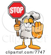 Clipart Picture Of A Chefs Hat Mascot Cartoon Character Holding A Stop Sign
