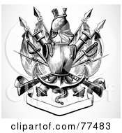 Royalty Free RF Clipart Illustration Of A Black And White Knights Armor With A Blank Banner And Swords