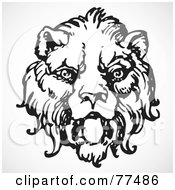 Royalty Free RF Clipart Illustration Of A Black And White Lion Head by BestVector
