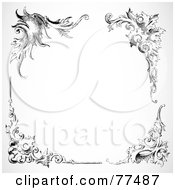 Royalty Free RF Clipart Illustration Of A Black And White Border Of Floral Corner Borders Version 5 by BestVector