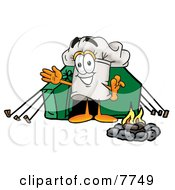 Chefs Hat Mascot Cartoon Character Camping With A Tent And Fire