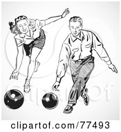 Royalty Free RF Clipart Illustration Of A Digital Collage Of A Retro Black And White Man And Woman Bowling by BestVector
