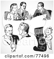 Royalty Free RF Clipart Illustration Of A Digital Collage Of Black And White Retro Business Men Working by BestVector