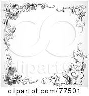 Royalty Free RF Clipart Illustration Of A Black And White Border Of Floral Corner Borders Version 1 by BestVector