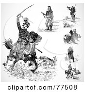 Royalty Free RF Clipart Illustration Of A Digital Collage Of Black And White Historical Soldiers by BestVector