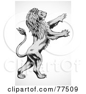 Royalty Free RF Clipart Illustration Of A Gray And Black Lunging Lion by BestVector